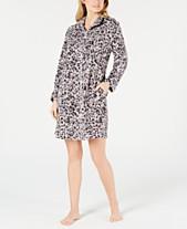 Miss Elaine Petite Printed Fleece Short Zip-Up Robe 15897dc16f