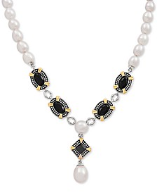 "Black Onyx & Cultured Freshwater Pearl 19"" Statement Necklace in Sterling Silver & 14k Gold-Plate"