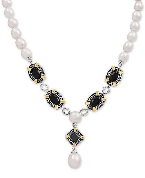 "Arabella Black Onyx & Cultured Freshwater Pearl 19"" Statement Necklace in Sterling Silver & 14k Gold-Plate"
