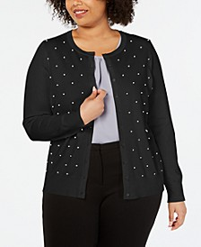 Plus Size Faux-Pearl Studded Cardigan, Created for Macy's