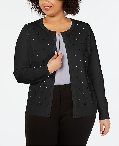 Charter Club Plus Size Faux-Pearl Studded Cardigan, Created for Macy's