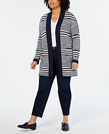 Charter Club Plus Size Striped Open-Front Cardigan, Created for Macy's
