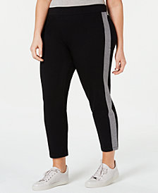 Eileen Fisher Plus Size Organic Side-Striped Ankle Pants
