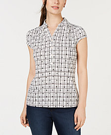 Charter Club Printed Polo Top, Created for Macy's