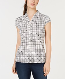 Charter Club Dot-Print Polo Top, Created for Macy's