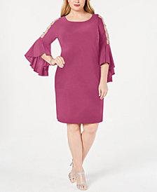 MSK Plus Size Embellished Bell-Sleeve Dress