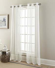 "Glitter Semi Sheer Grommet Curtain Panel Pair, White/Metallic, 37 x 84"""
