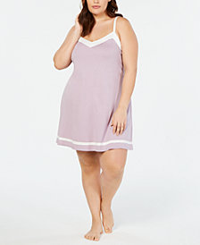 Alfani Plus Size Contrast Trim Knit Chemise, Created for Macy's