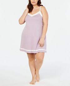 Alfani Pima Cotton Plus Size Contrast Trim Knit Chemise Nightgown, Created for Macy's