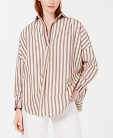 French Connection Cotton Mixed-Stripe Shirt