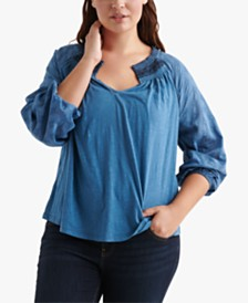 Lucky Brand Cotton Plus Size Embroidered Top