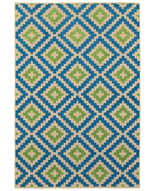 "Oriental Weavers Cayman 2063Z Sand/Blue 6'7"" x 9'6"" Indoor/Outdoor Area Rug"