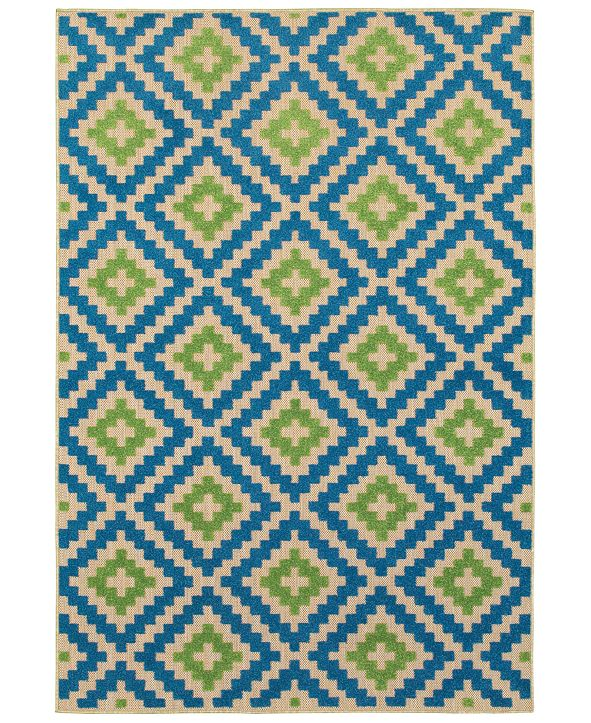 "Oriental Weavers Cayman 2063Z Sand/Blue 1'10"" x 3'3"" Indoor/Outdoor Area Rug"