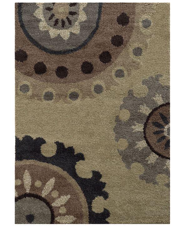 """Oriental Weavers Covington Shag 4926J Beige/Midnight 7'10"""" x 10'10"""" Area Rug"""