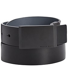 Men's Plaque-Buckle Leather Belt