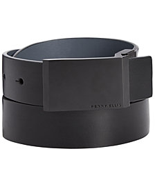 Perry Ellis Men's Plaque-Buckle Leather Belt