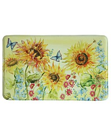 "Watercolor Sunflower Memory Foam Rectangle 22""x35"" Accent Rug"