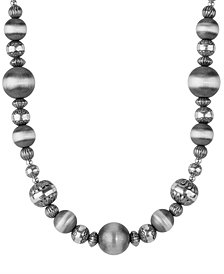 American West Oxidized and Polished Southwest Bead Necklace in Sterling Silver