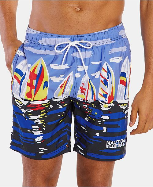 "Nautica Nautica Men's Blue Sail Quick Dry 8"" Swim Trunks, Created for Macy's"