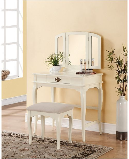 Linon Home Décor Brinley Vanity Set With Bench And Mirror