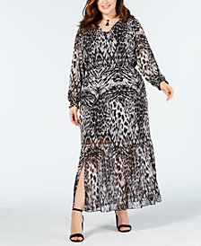 ECI Plus Size Animal-Print Maxi Dress