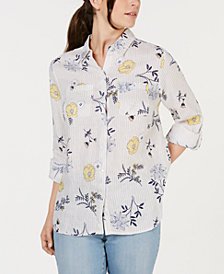 Charter Club Petite Linen Printed Button-Up Top, Created for Macy's