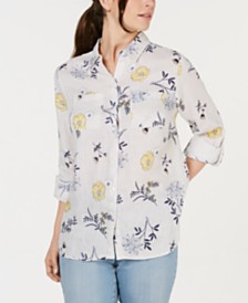 Charter Club Linen Floral-Print Utility Shirt, Created for Macy's