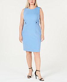 Kasper Plus Size Button-Waist Sheath Dress