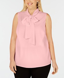 Bar III Plus Size Bow-Neck Blouse, Created for Macy's