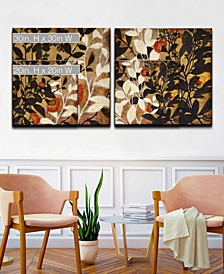 'Sprouting Together I/II' 2 Piece Botanical Canvas Wall Art Collection