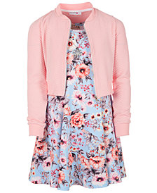 Beautees Big Girls 2-Pc. Bomber Jacket & Floral-Print Dress