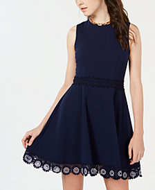 B Darlin Juniors' Crochet A-Line Dress