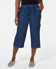 Karen Scott Petite Edna Denim Cargo Capri Pants, Created for Macy's