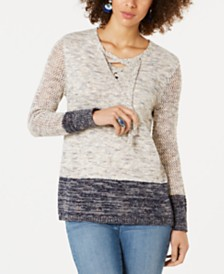 Style & Co Pointelle-Sleeve Lace-Up Sweater, Created for Macy's