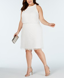 Adrianna Papell Plus Size Embellished Blouson Sheath Dress