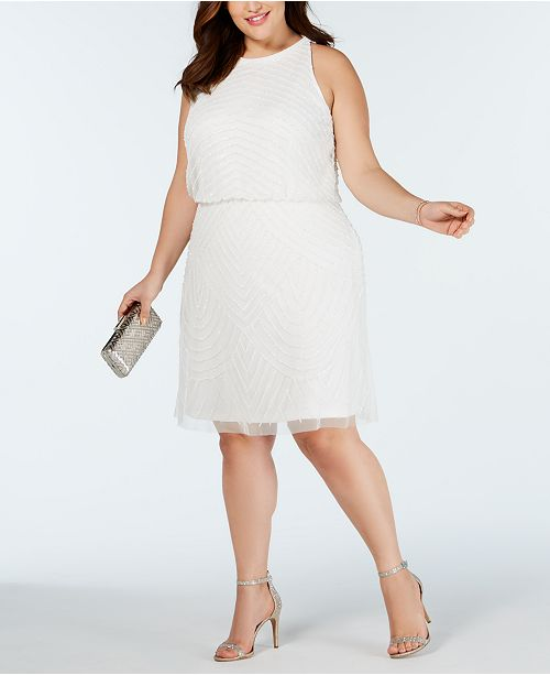 Plus Size Embellished Blouson Sheath Dress