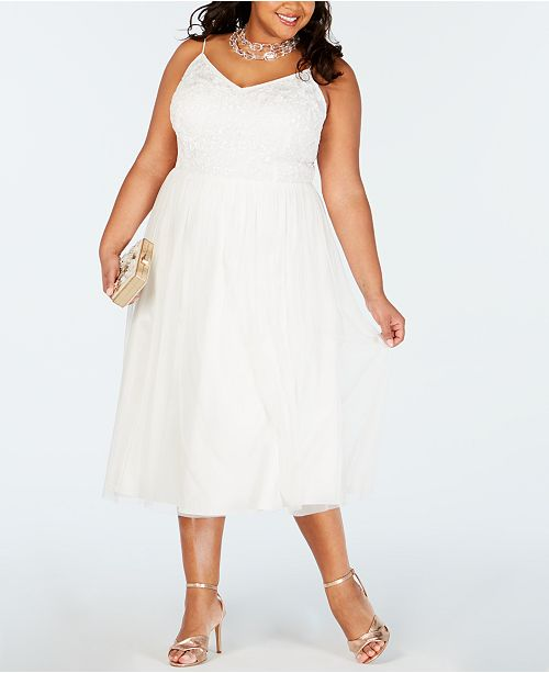 Plus Size Beaded Tulle A-Line Dress