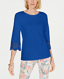 Charter Club Petite Lace-Sleeve Top, Created for Macy's