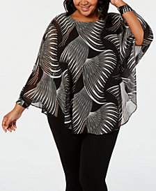 JM Collection Plus Size Printed Poncho, Created for Macy's