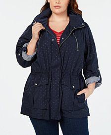 Tommy Hilfiger Plus Size Printed Utility Jacket, Created for Macy's