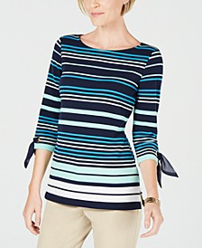 Petite Striped Tie-Sleeve Top, Created for Macy's