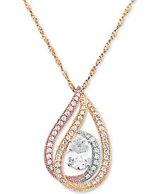"Cubic Zirconia Tricolor 18"" Pendant Necklace in Sterling Silver, 14k Gold-Plate, & 14k Rose Gold-Plate"