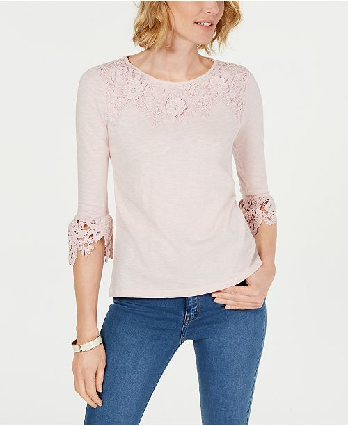 Charter Club Cotton Embroidered Lace Top, Created for Macy's