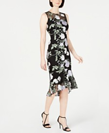 Calvin Klein Embroidered Floral Flounce Dress
