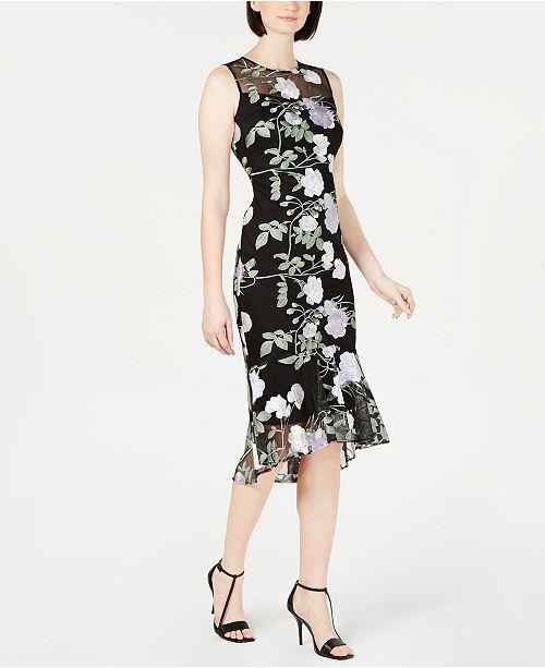 Calvin Klein Embroidered Floral Flounce Dress