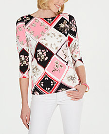 Charter Club Petite Patch-Print Bateau Top, Created for Macy's