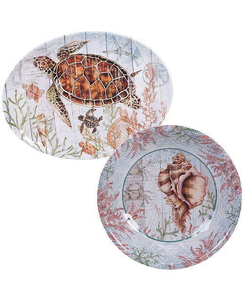 Certified International Sanibel Melamine 2 Piece Platter Set