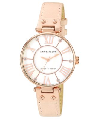 Image of Anne Klein Watch, Women's Peach Leather Strap 34mm 10-9918RGLP