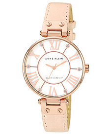 Anne Klein Women's Peach Leather Strap Watch 34mm 10-9918RGLP