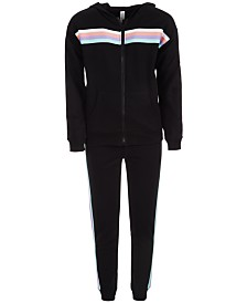 Ideology Big Girls Striped Zip-Up Hoodie & Jogger Pants, Created for Macy's